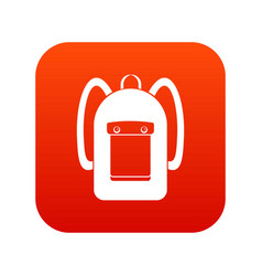 Backpack icon digital red vector