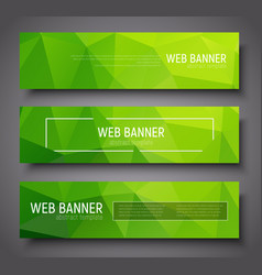 Banner design with green abstract polygonal vector