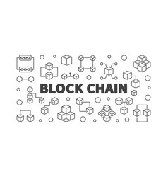 block chain cryptocurrency concept line vector image