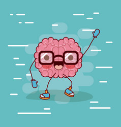 brain cartoon with glasses and greeting and vector image