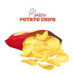 bunch potato chips spilled vector image