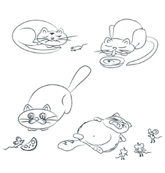 Cat and Mice On Hand Drawn Sketch Note EPS 8 vector