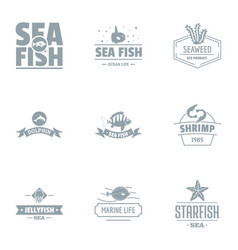Catch fish logo set simple style vector