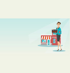 Caucasian shop owner holding open signboard vector
