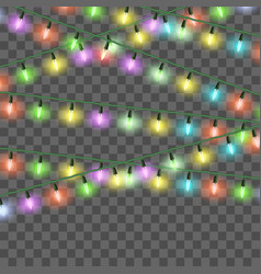 christmas bright lights set color xmas vector image