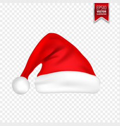 Christmas santa claus hats with shadow set new vector