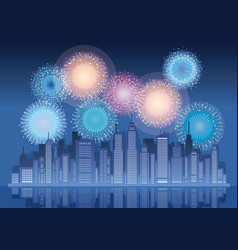 Cityscape with skyscrapers and fireworks vector