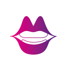 Color silhouette mouth with lipstick in the lips vector