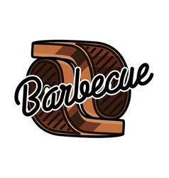 color vintage barbecue emblem vector image