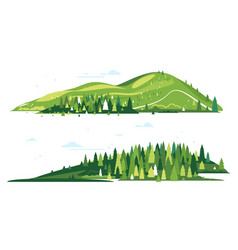 creative mountain compositions isolated vector image