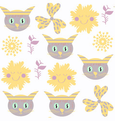 cute funny cats seamless pattern it is located in vector image