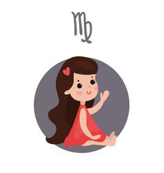 Cute little girl as virgo astrological sign vector