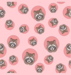 cute raccoon seamless pattern vector image