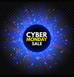 cyber monday sale banner with sparkle star and vector image