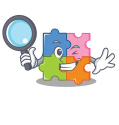 Detective puzzle character cartoon style vector