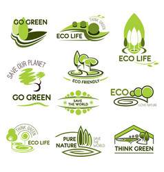 Eco nature and green ecology icons set vector