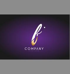 F alphabet letter gold golden logo icon design vector