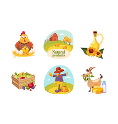 Farm animals poultry eco freshy products and vector