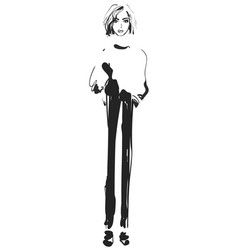 Fashion model sketch girl vector