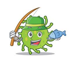 Fishing green bacteria mascot cartoon vector