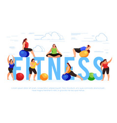 fitness banner template with fitness women vector image