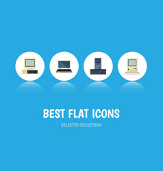Flat icon laptop set of computer notebook vector