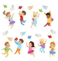 flat set cute kids throwing books up in vector image