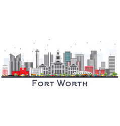 Fort worth usa city skyline with gray buildings vector