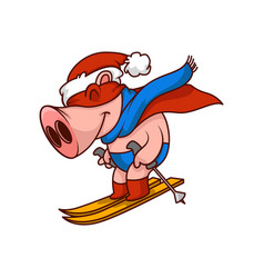 Funny pig superhero riding on skis humanized vector