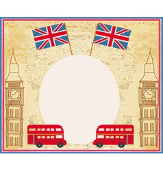 grunge frame with icons of London vector image