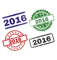 grunge textured 2016 stamp seals vector image