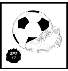 Hand drawn graphic football boots with ball on vector