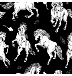 Hand drawn seamless background with horse vector image