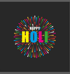 happy holi text festival colours bright vector image
