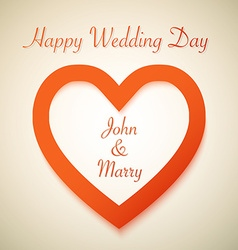 Happy Wedding Day Background with Heart Love Shape vector image