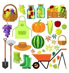 Harvest flat set vector image vector image