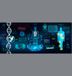 Healthcare futuristic scanning in hud style design vector