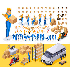 Isometric set create your character courier vector