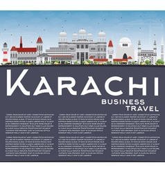 Karachi Skyline with Gray Landmarks vector