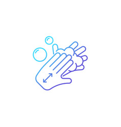 Lathering back of hands gradient linear icon vector