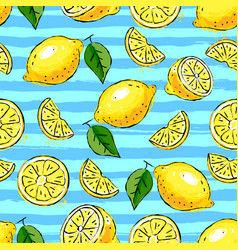 Lemon tropics seamless pattern hand-drawn lemons vector