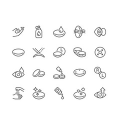 Line eye lens icons vector