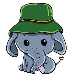 Little elephant on white background vector
