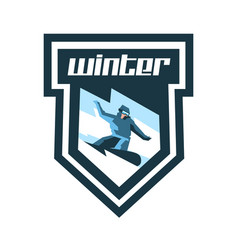 Logo for winter sports label stamp snowboarder vector