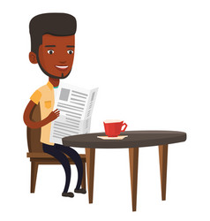 Man reading newspaper and drinking coffee vector