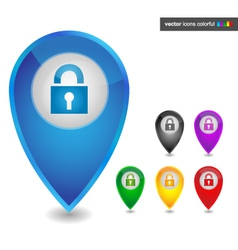Map pointer with lock icon colorful vector
