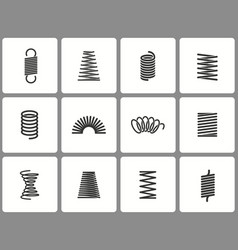 metal spring icon set isolated on vector image