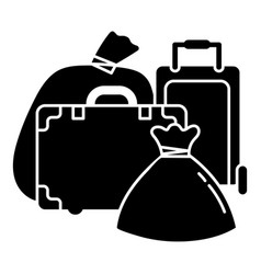 Migrant refugee bags icon simple style vector