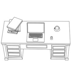 Minimal line art workplace with laptop vector