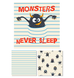 monsters never sleep surface design vector image
